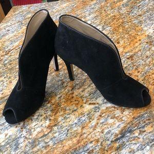 Adrienne Vittadini black peep-toe booties- size 7